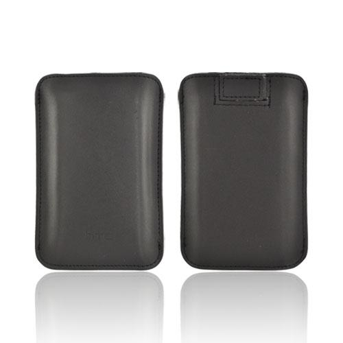 Original HTC Vertical Leather Pouch w/ Pull-Out Tab, PO S550 - Black