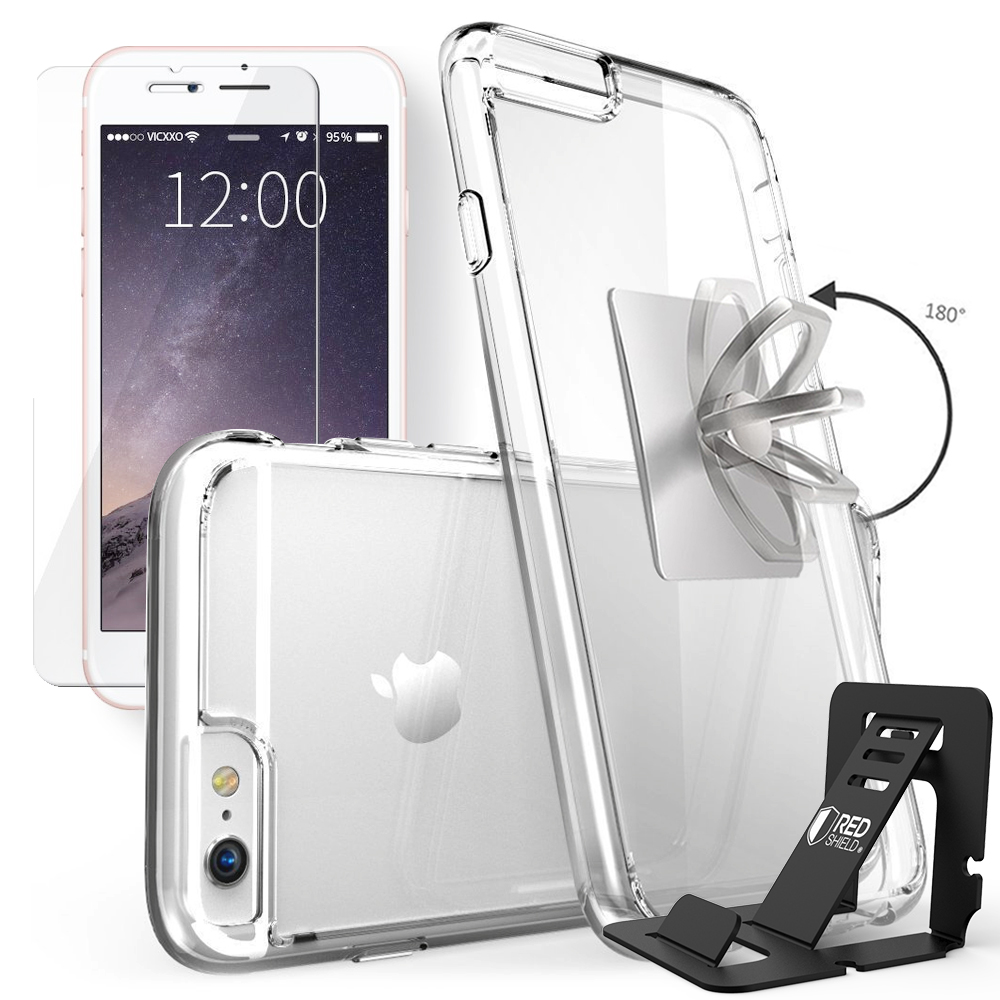 REDshield Apple iPhone 6S / 6 Bundle: Flexible Crystal Silicone Clear Gel Skin Case + Tempered Glass Screen Protector + Phone Ring Stand Holder + Portable, Foldable Smartphone Stand