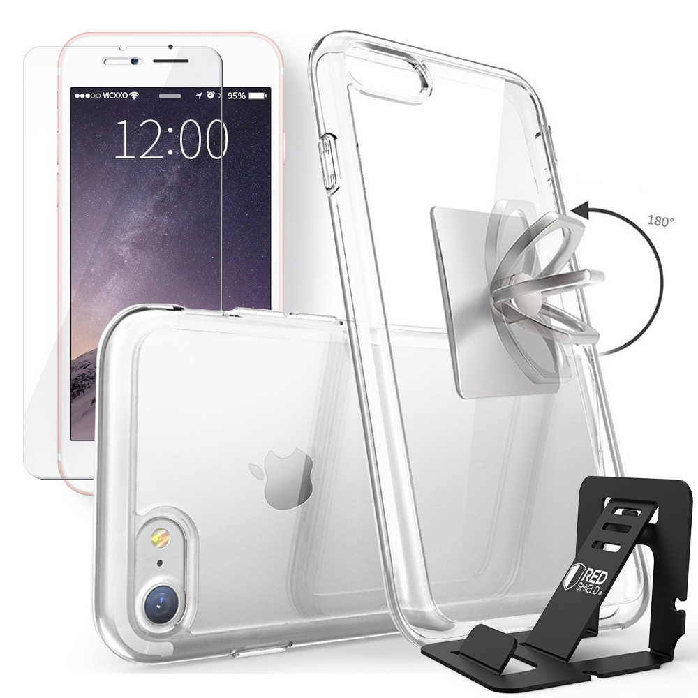 REDshield Apple iPhone 8 / 7 Bundle: Flexible Crystal Silicone Clear Gel Skin Case + Tempered Glass Screen Protector + Phone Ring Stand Holder + Portable, Foldable Smartphone Stand