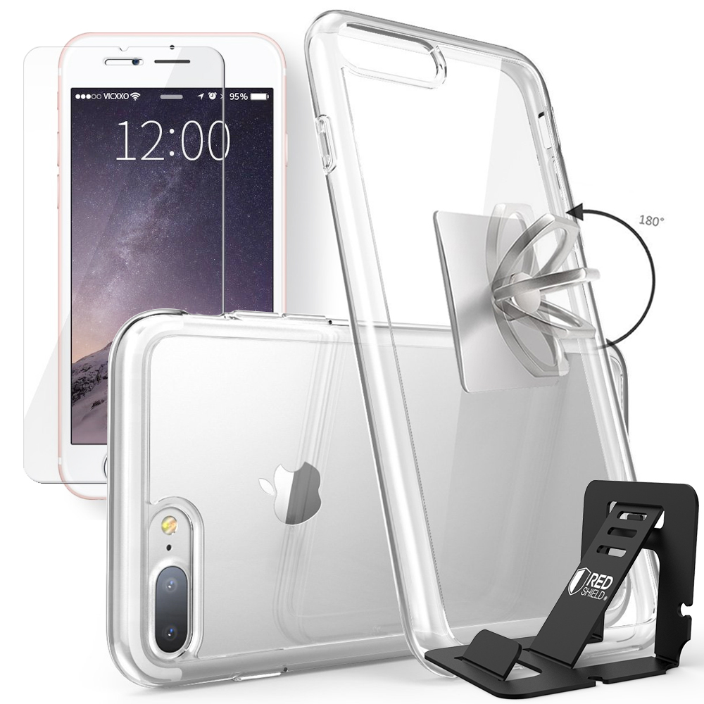 Made for Apple iPhone 8 Plus / 7 Plus / 6S Plus / 6 Plus Bundle: Flexible Crystal Silicone Clear Gel Skin Case + Tempered Glass Screen Protector + Phone Ring Stand Holder + Portable, Foldable Smartphone Stand by Redshield