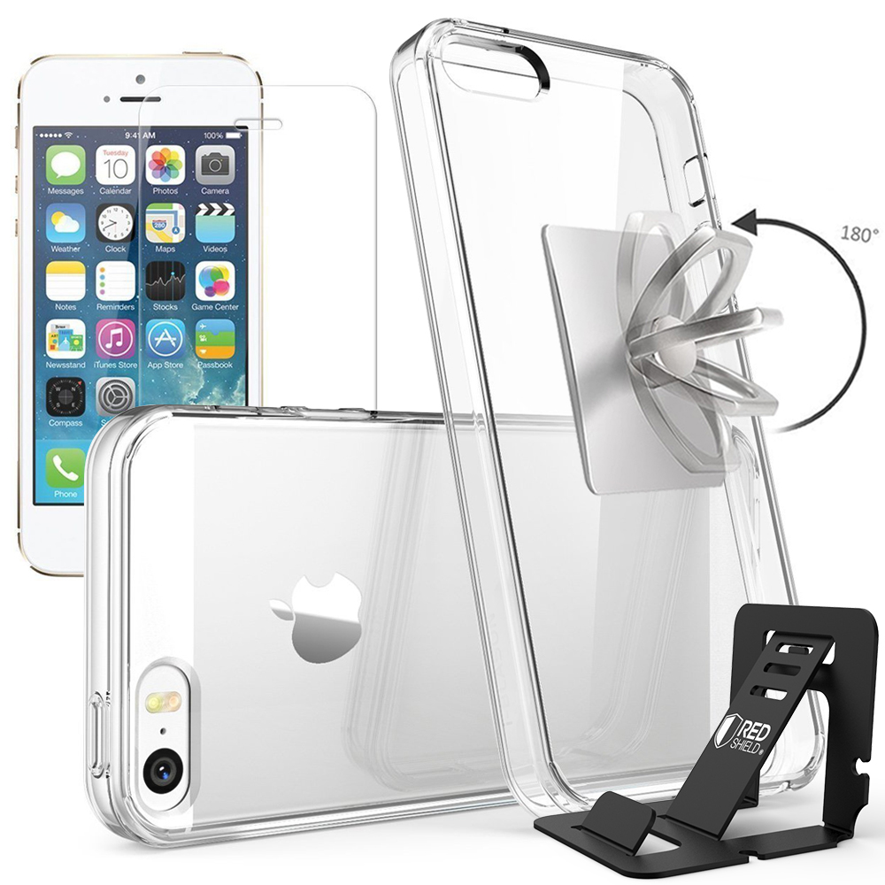 REDshield Apple iPhone 5 / 5S / SE Bundle: Flexible Crystal Silicone Clear Gel Skin Case + Tempered Glass Screen Protector + Phone Ring Stand Holder + Portable, Foldable Smartphone Stand