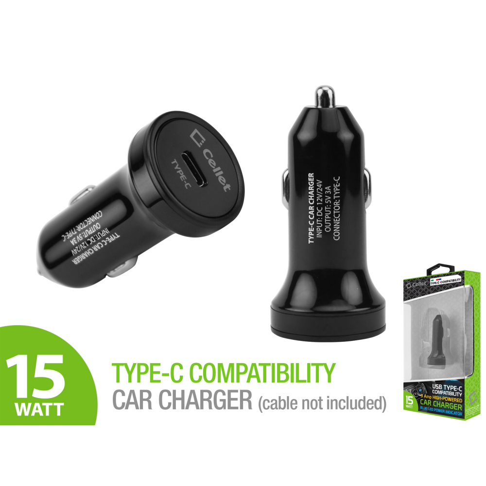 High powered 3 amp usb type c car charger adapter black