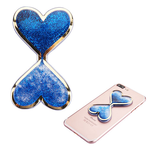 Quicksand Glitter Sticker, 3D [Blue Double Hearts] Quicksand Glitter Puffy Sticker Decal - Add On To Any Phone!