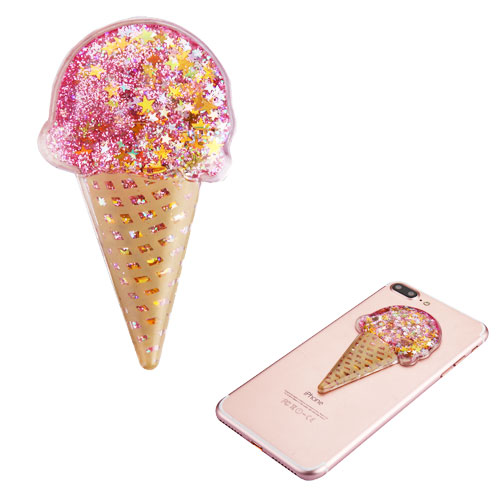 Quicksand Glitter Sticker, 3D [Pink Stars Ice Cream] Quicksand Glitter Puffy Sticker Decal - Add On To Any Phone!