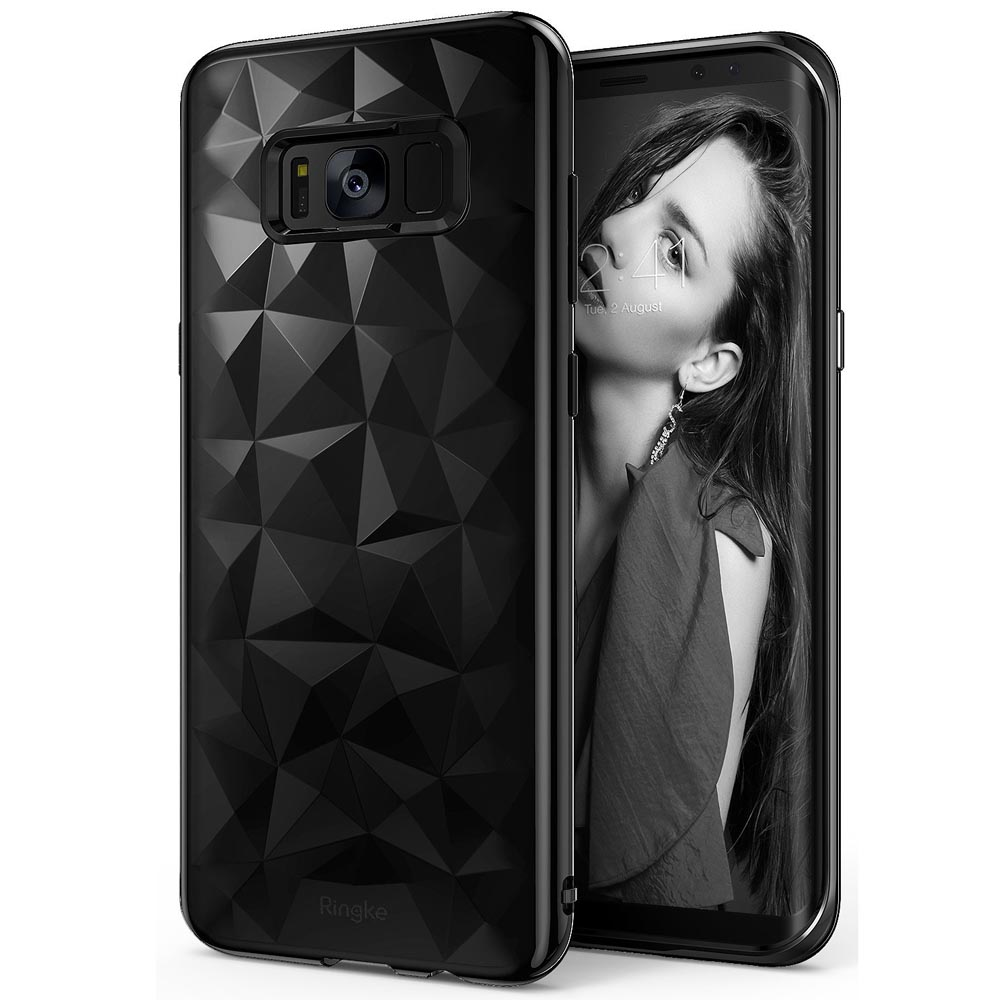 Samsung Galaxy S8 TPU Case, Ringke [AIR PRISM] 3D Pyramid Stylish Diamond Pattern Flexible Jewel-Like Textured Protective TPU Drop Resistant Cover - Ink Black