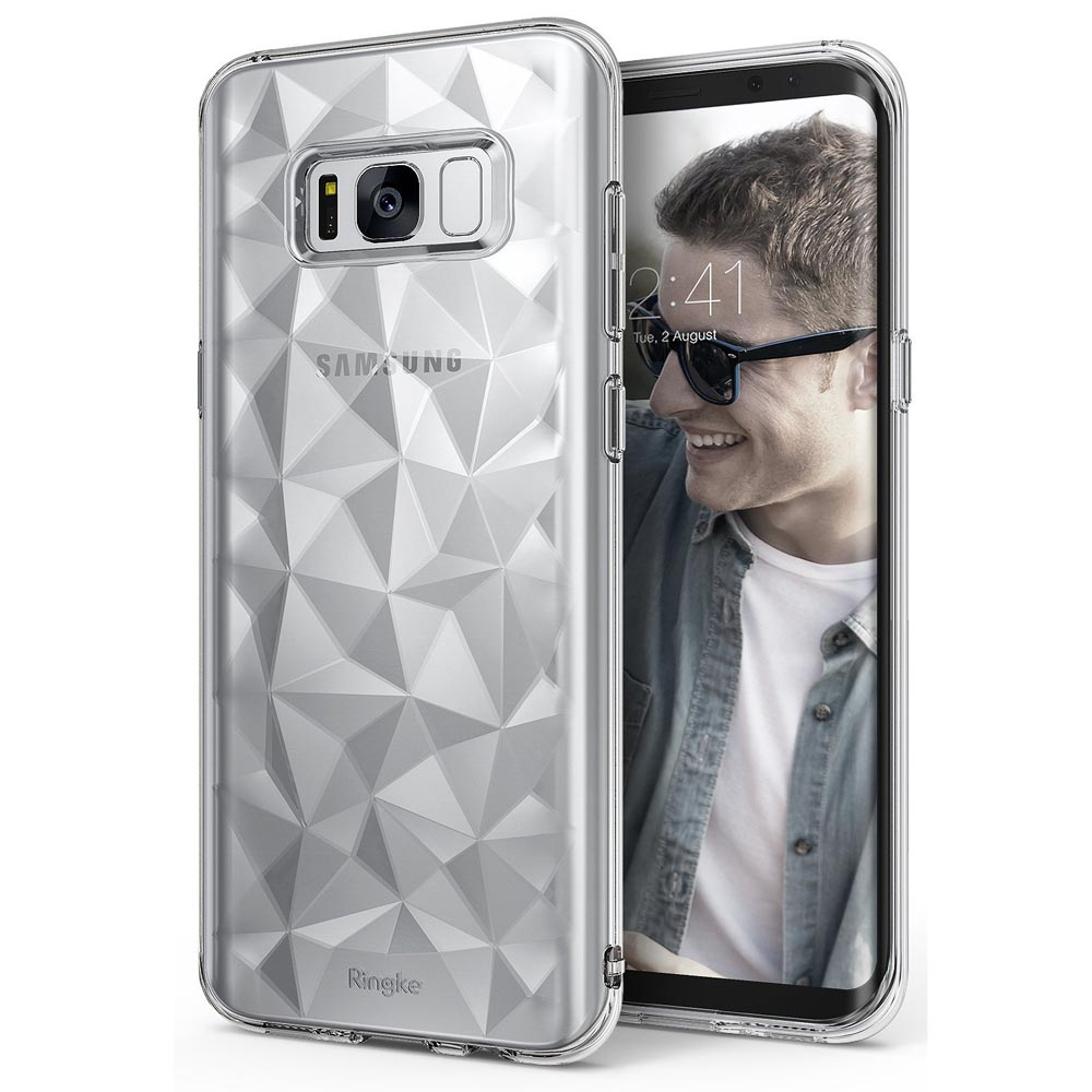 Galaxy S8 Plus Case, Ringke [AIR PRISM] 3D Pyramid Stylish Diamond Pattern Flexible Jewel-Like Textured Protective TPU Cover for Samsung Galaxy S8 Plus - Clear