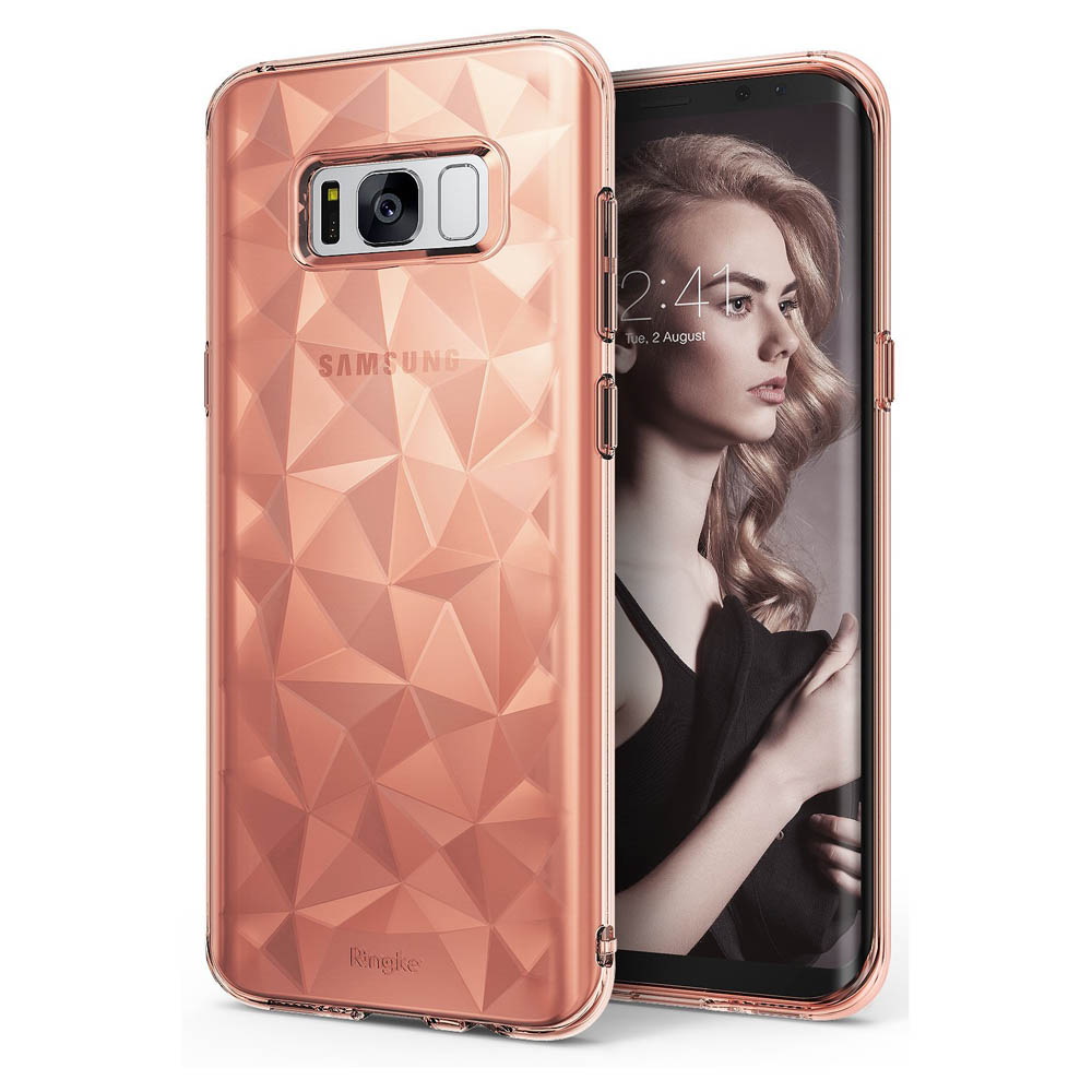 Samsung Galaxy S8 Plus Case, Ringke [AIR PRISM] 3D Pyramid Stylish Diamond Pattern Flexible Jewel-Like Textured Protective TPU Drop Resistant Cover - Rose Gold Crystal