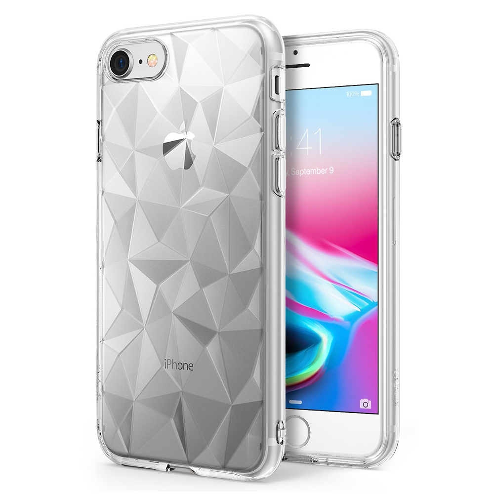 [Ringke] Apple iPhone 8 / 7 Case, [AIR PRISM] 3D Geometric Design TPU Fashion Textured Protective Cover [Clear]