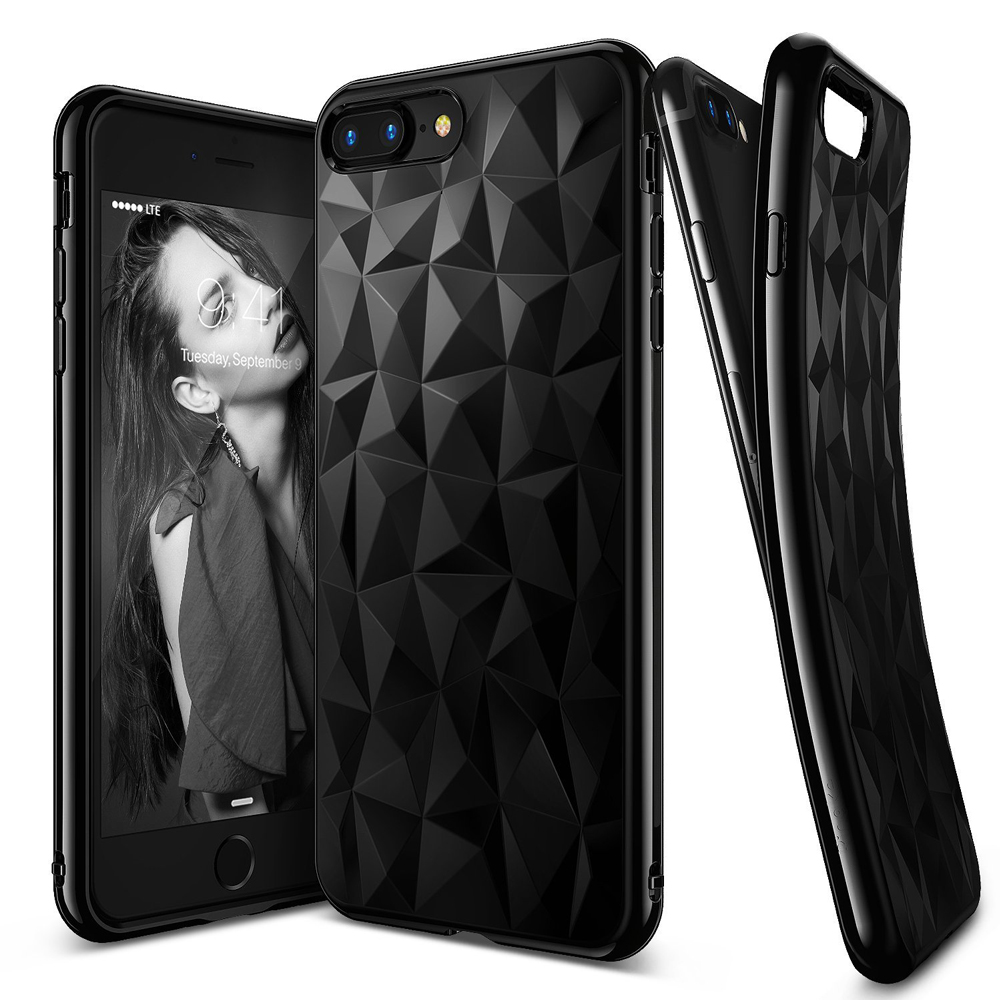 [Ringke] Apple iPhone 8 Plus / 7 Plus Case, [AIR PRISM] 3D Geometric Design TPU Fashion Textured Protective Cover [Ink Black]