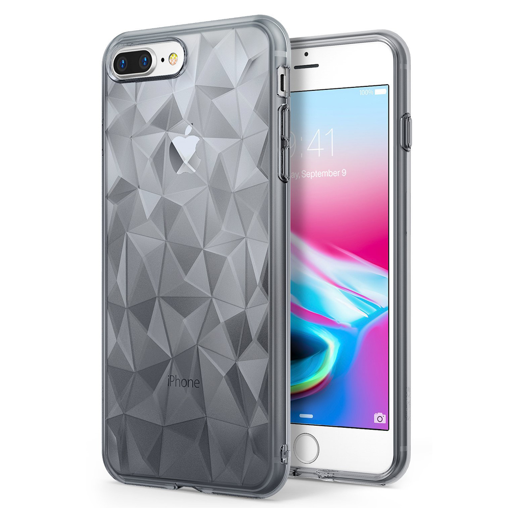 [Ringke] Apple iPhone 8 Plus / 7 Plus Case, [AIR PRISM] 3D Geometric Design TPU Fashion Textured Protective Cover [Smoke Black]