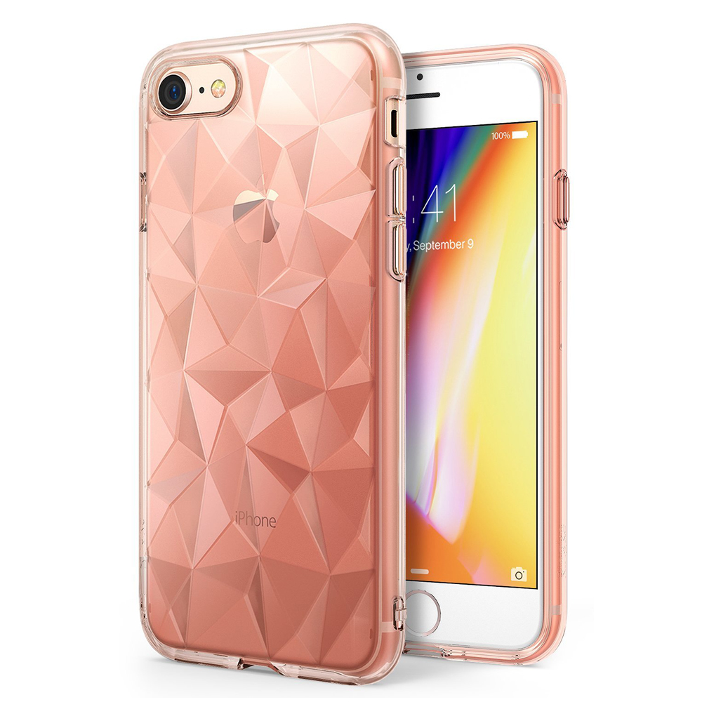 [Ringke] Apple iPhone 8 / 7 Case, [AIR PRISM] 3D Geometric Design TPU Fashion Textured Protective Cover [Rose Gold]
