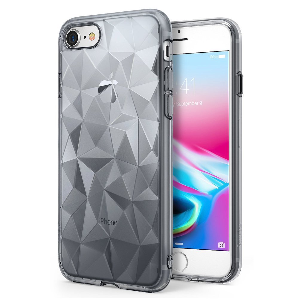[Ringke] Apple iPhone 8 / 7 Case, [AIR PRISM] 3D Geometric Design TPU Fashion Textured Protective Cover [Smoke Black]