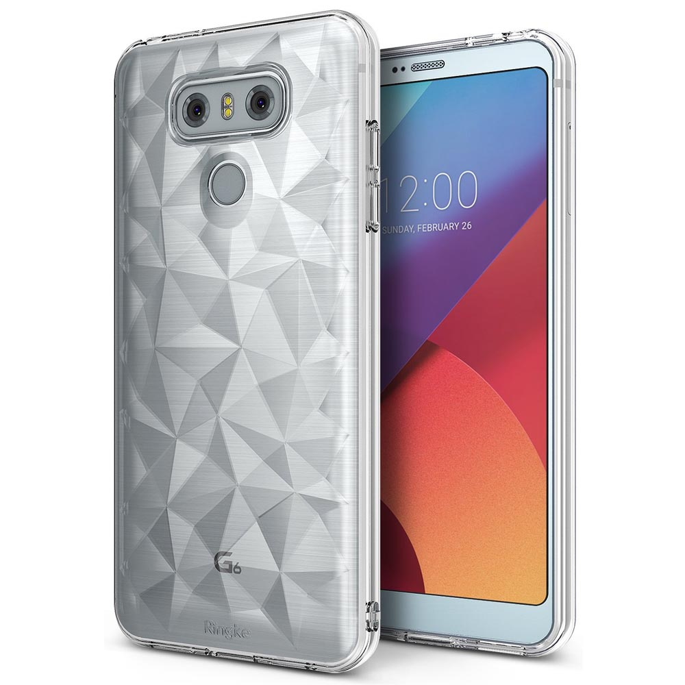 LG G6 Case, Ringke [AIR PRISM] [Attached Dust Cap] 3D Contemporary Design Chic Slim Geometric Stylish Diamond Pattern Flexible Full-body Textured Protective TPU Cover For LG G6 [Clear]