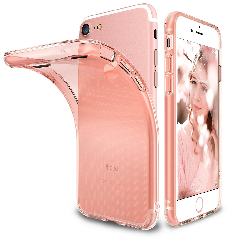 [Ringke] Apple iPhone 8 / 7 Case, [AIR] Flexible Transparent Lightweight & Soft Surface Protection Cover [Rose Gold]
