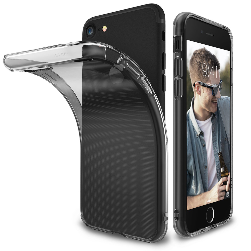 [Ringke] Apple iPhone 8 / 7 Case, [AIR] Flexible Transparent Lightweight & Soft Surface Protection Cover [Smoke Black]