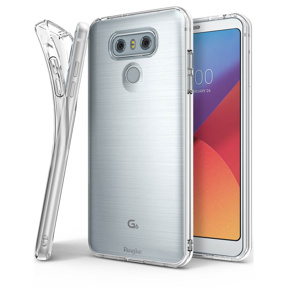 LG G6 Case, Ringke [Air] [Attached Dust Cap] Ultimate Ergonomic Resilient Weightless as Air, Extreme Featherweight Supple TPU Scratch Resistant Sturdy Protective Cover for LG G6 [Clear]