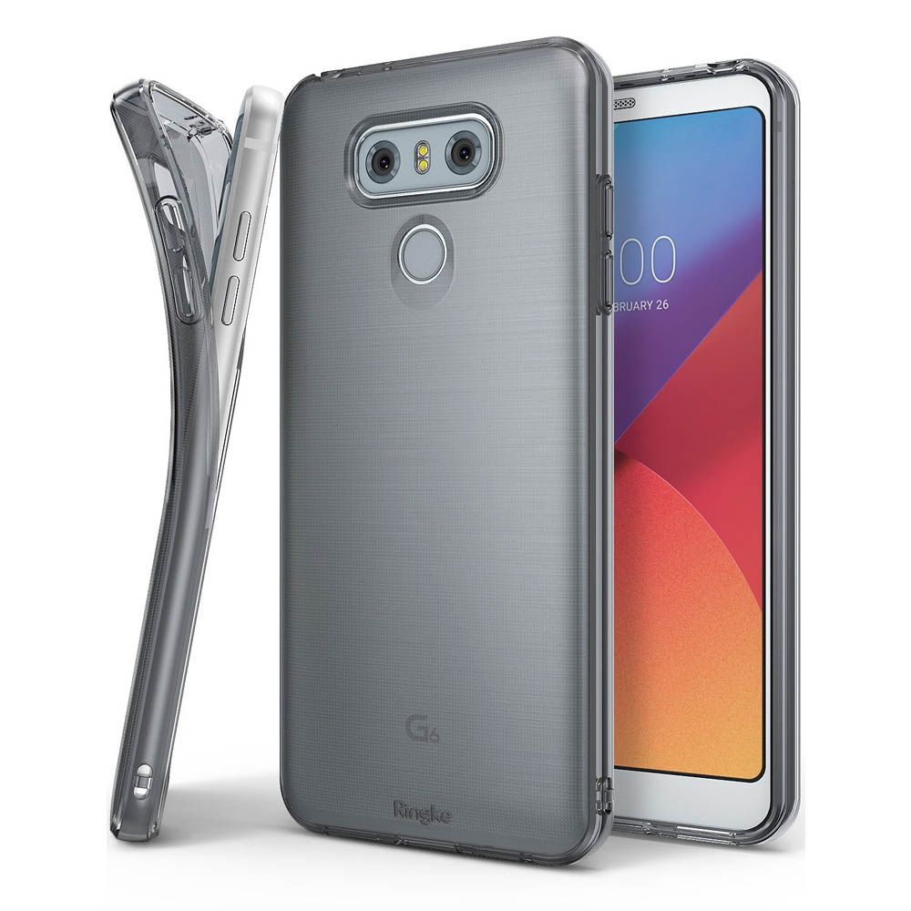 LG G6 Case, Ringke [Air] [Attached Dust Cap] Ultimate Ergonomic Resilient Weightless as Air, Extreme Featherweight Supple TPU Scratch Resistant Sturdy Protective Cover for LG G6 [Smoke Black]