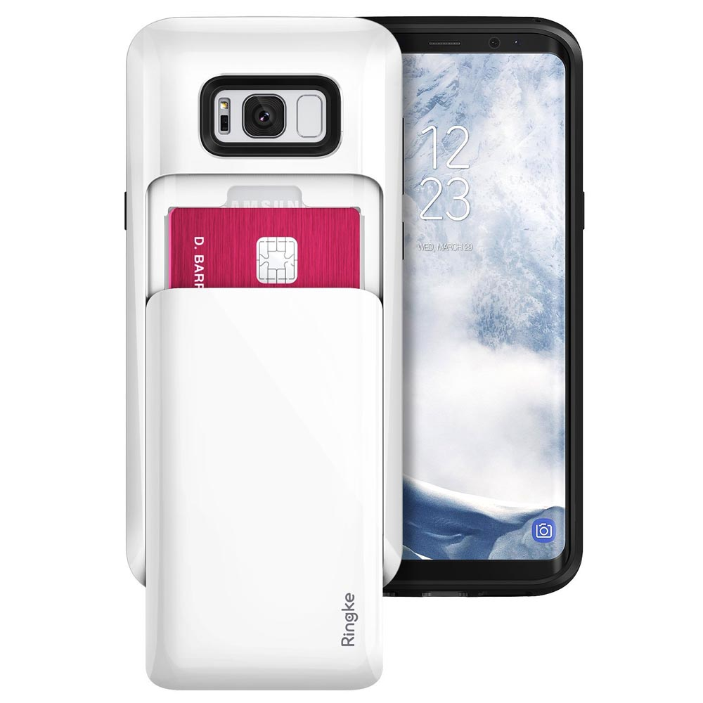 Galaxy S8 Plus Case, Ringke [ACCESS WALLET] Slim Dual Card Holder ID Slide Slot Advanced Movement Design Versatile Cover Case - Gloss White