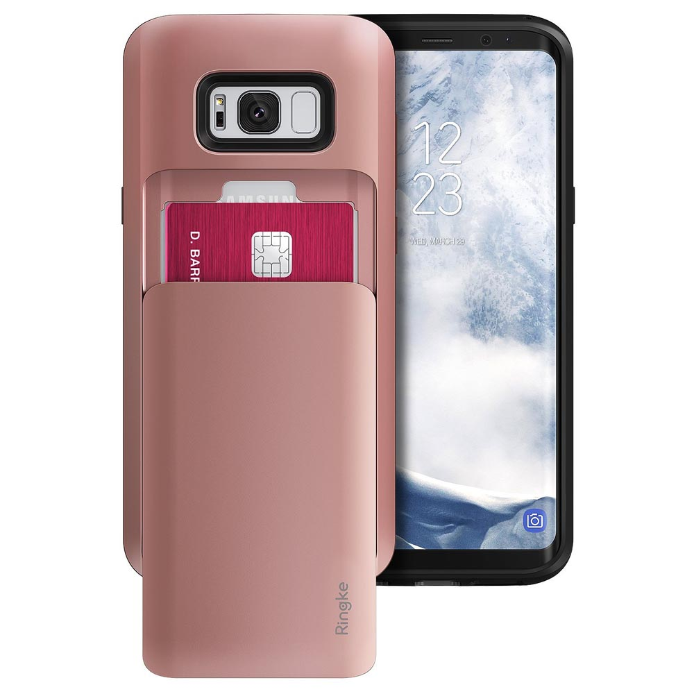 Galaxy S8 Plus Case, Ringke [ACCESS WALLET] Slim Dual Card Holder ID Slide Slot Advanced Movement Design Versatile Cover Case - Rose Gold