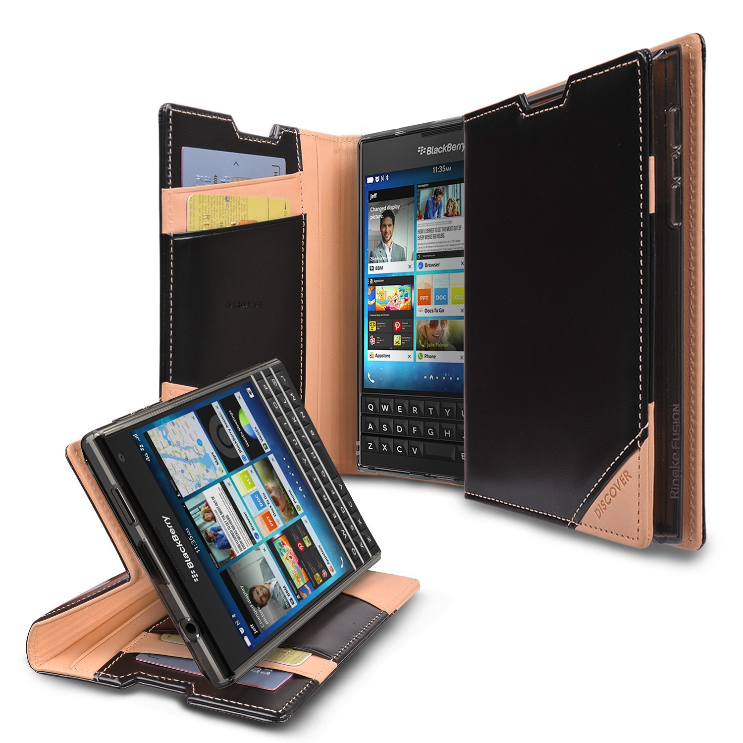 Blackberry Passport Wallet Case by Ringke [Black] Discover Series Featuring Premium Genuine Leather, Stand Mode & ID Slots