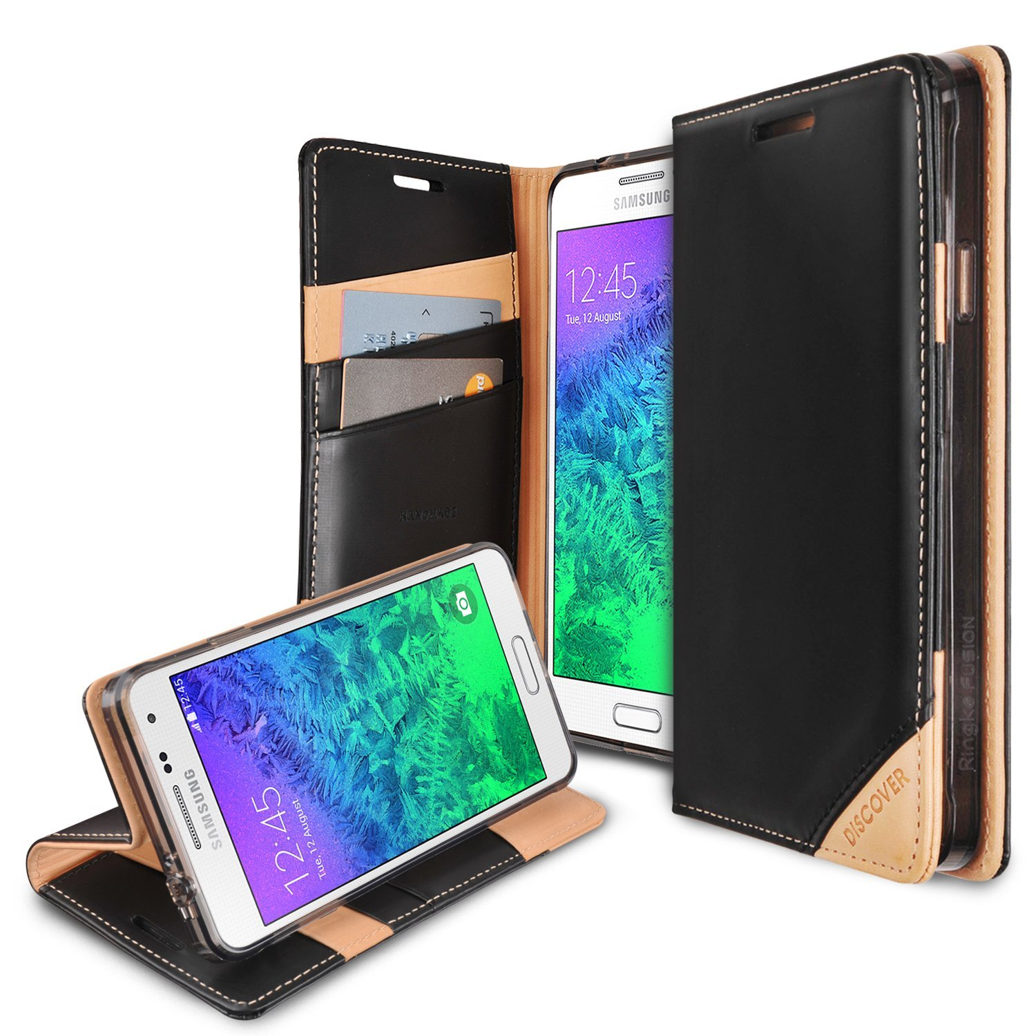 Galaxy Alpha Wallet Case by Ringke [Black] Discover Series Featuring Premium Genuine Leather Front w/ ID Slots [Free HD Screen Protector]