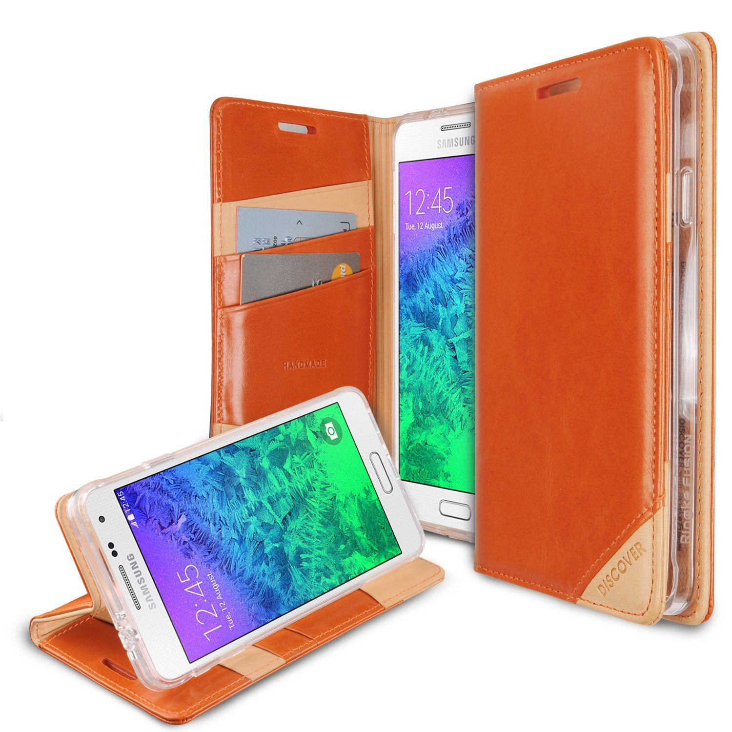 Galaxy Alpha Wallet Case by Ringke [Orange] Discover Series Featuring Premium Genuine Leather Front w/ ID Slots [Free HD Screen Protector]