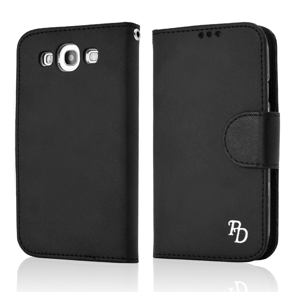 RS Fancy Black Faux Leather Diary Flip Hard Case w/ ID Slots & Wrist Strap for Samsung Galaxy S3