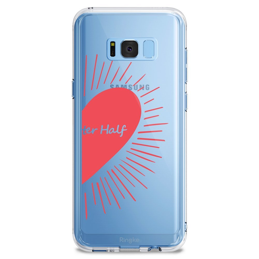 Samsung Galaxy S8 Case, Ringke [DESIGN FUSION] Cute & Pretty Transparent PC Back Protective Cover w/ Shock Absorption TPU Bumper - My Better Half (R)