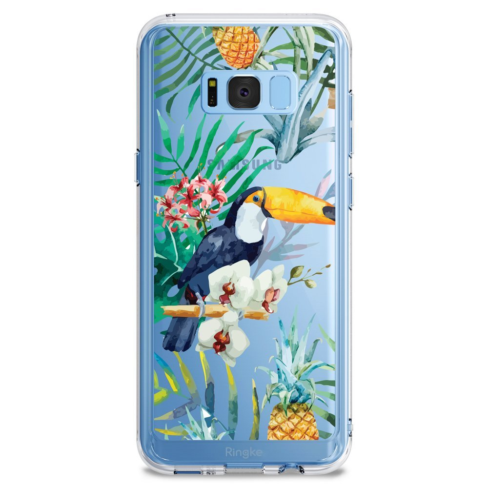 Samsung Galaxy S8 Plus Case, Ringke [DESIGN FUSION] Cute & Pretty Transparent PC Back Protective Cover w/ Shock Absorption TPU Bumper - Aloha Paradise
