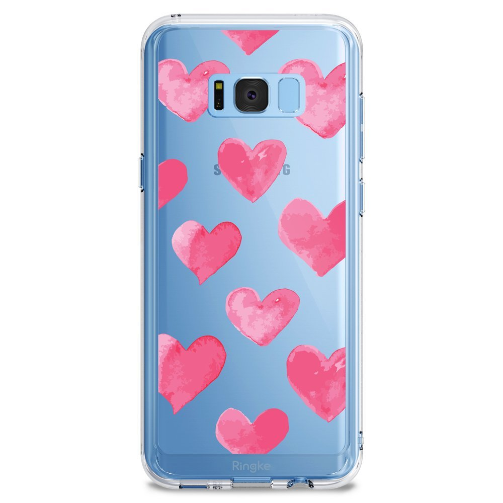 Samsung Galaxy S8 Plus Case, Ringke [DESIGN FUSION] Cute & Pretty Transparent PC Back Protective Cover w/ Shock Absorption TPU Bumper - Watercolor Hearts