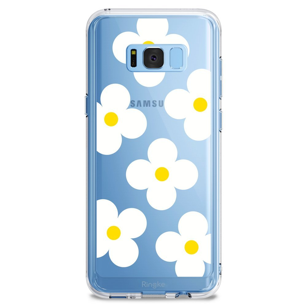 Samsung Galaxy S8 Case, Ringke [DESIGN FUSION] Cute & Pretty Transparent PC Back Protective Cover w/ Shock Absorption TPU Bumper - White Daisies