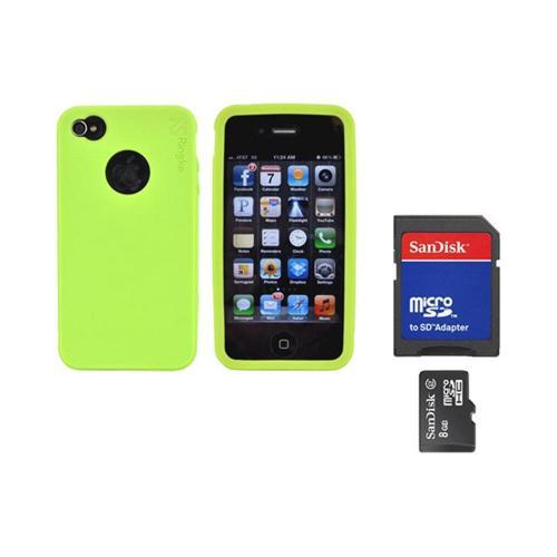 Original Rearth Bundle w/ Apple iPhone 4S Ringke Lime Green Silicone Case & 8GB Micro SDHC Memory Card w/ SD Card Adapter