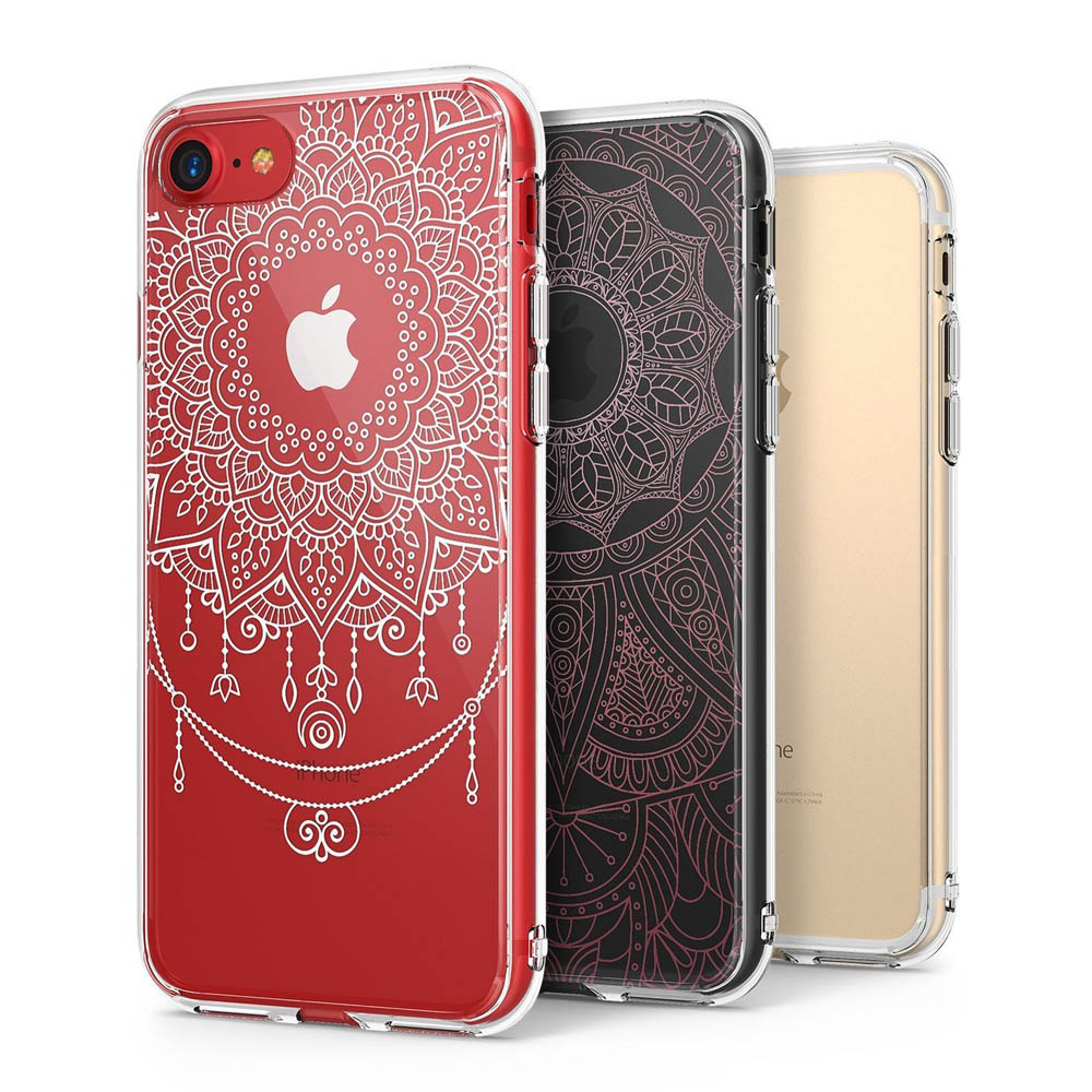 Apple iPhone 8 / 7 / 6S / 6 Case, Ringke [FUSION DECO] 2 Pattern Design Film + Clear Case Combo [White Mandala Flower / Pink Bohemian Lace]