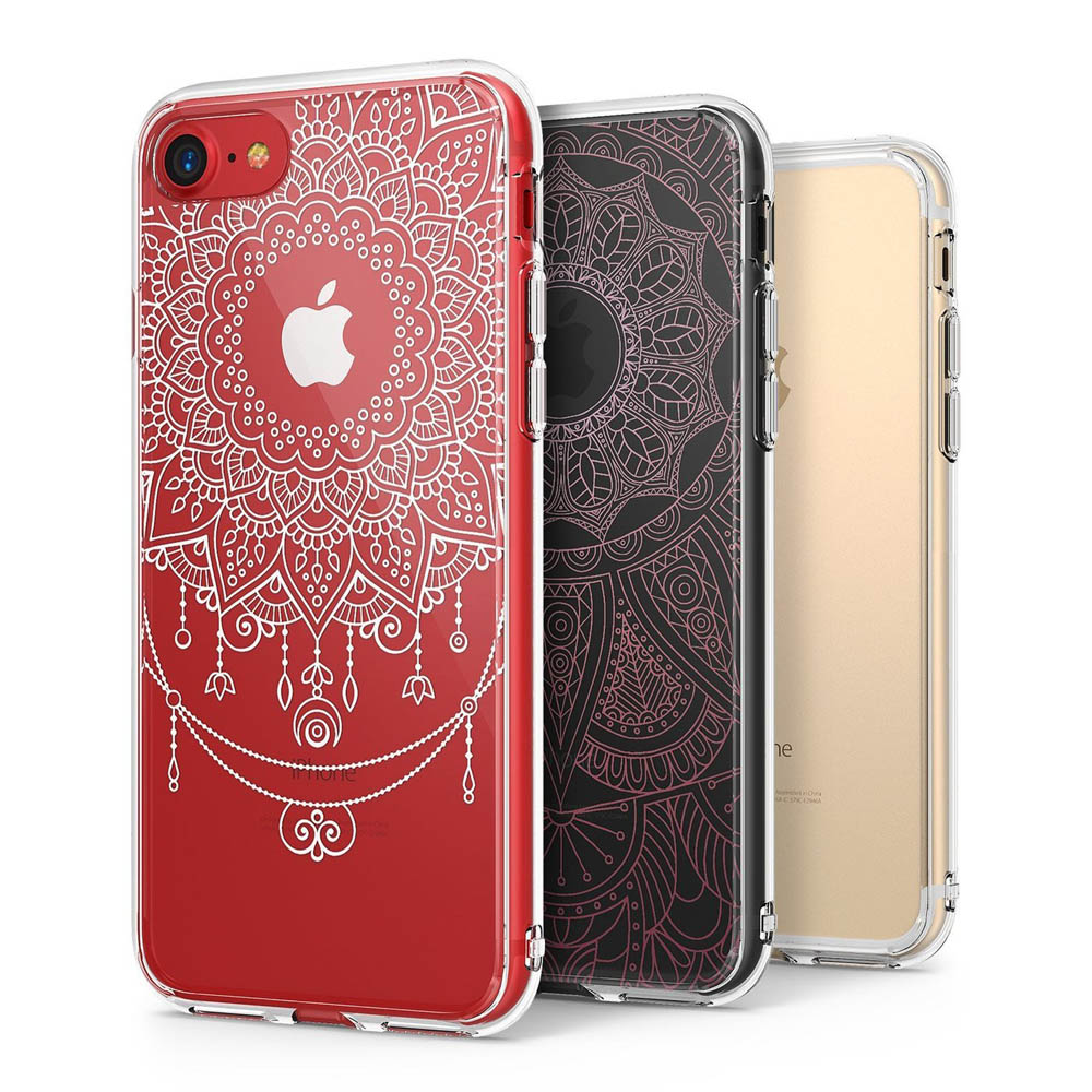 Apple iPhone 8 Plus / 7 Plus / 6S Plus / 6 Plus Case, Ringke [FUSION DECO] 2 Pattern Design Film + Clear Case Combo [White Mandala Flower / Pink Bohemian Lace]
