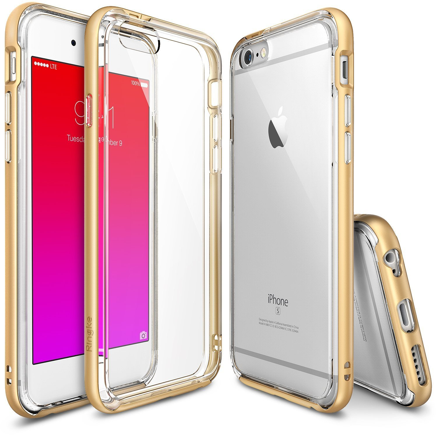 Apple iPhone 6/6S Bumper Case, Ringke [Gold] FRAME Drop Protection Clear Soft Shock Absorption Protection Bumper Case