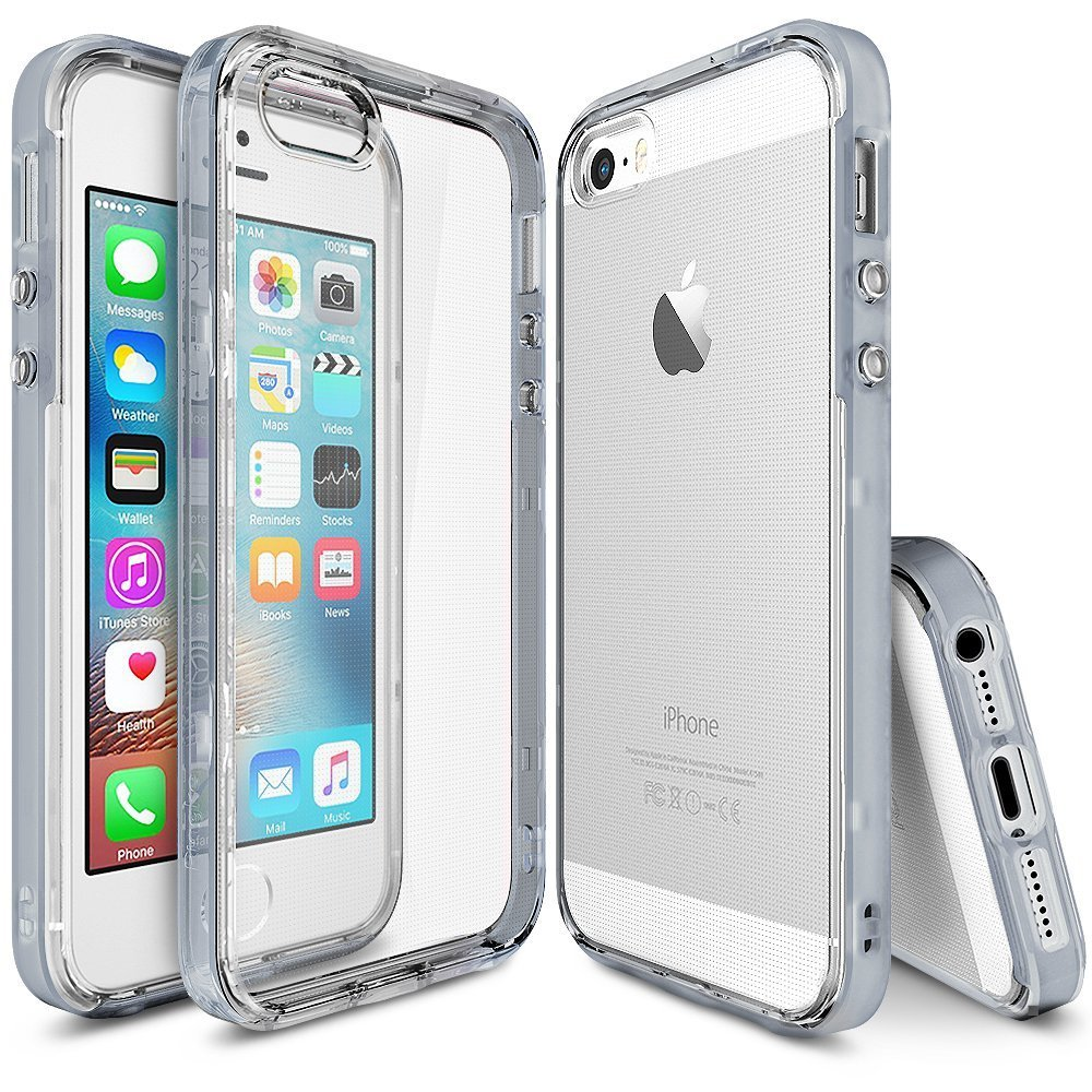 Apple iPhone SE/5/5S Ringke Case, Ringke [FrostGray] FRAME Drop Protection Clear Soft Shock Absorption Protection Bumper Case