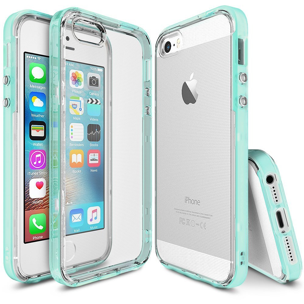 Apple iPhone SE/5/5S Ringke Case, Ringke [FrostMint] FRAME Drop Protection Clear Soft Shock Absorption Protection Bumper Case