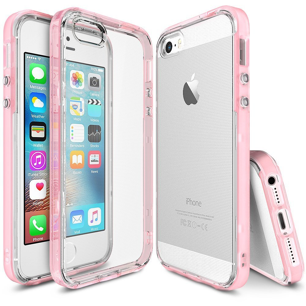 Apple iPhone SE/5/5S Ringke Case, Ringke [FrostPink] FRAME Drop Protection Clear Soft Shock Absorption Protection Bumper Case