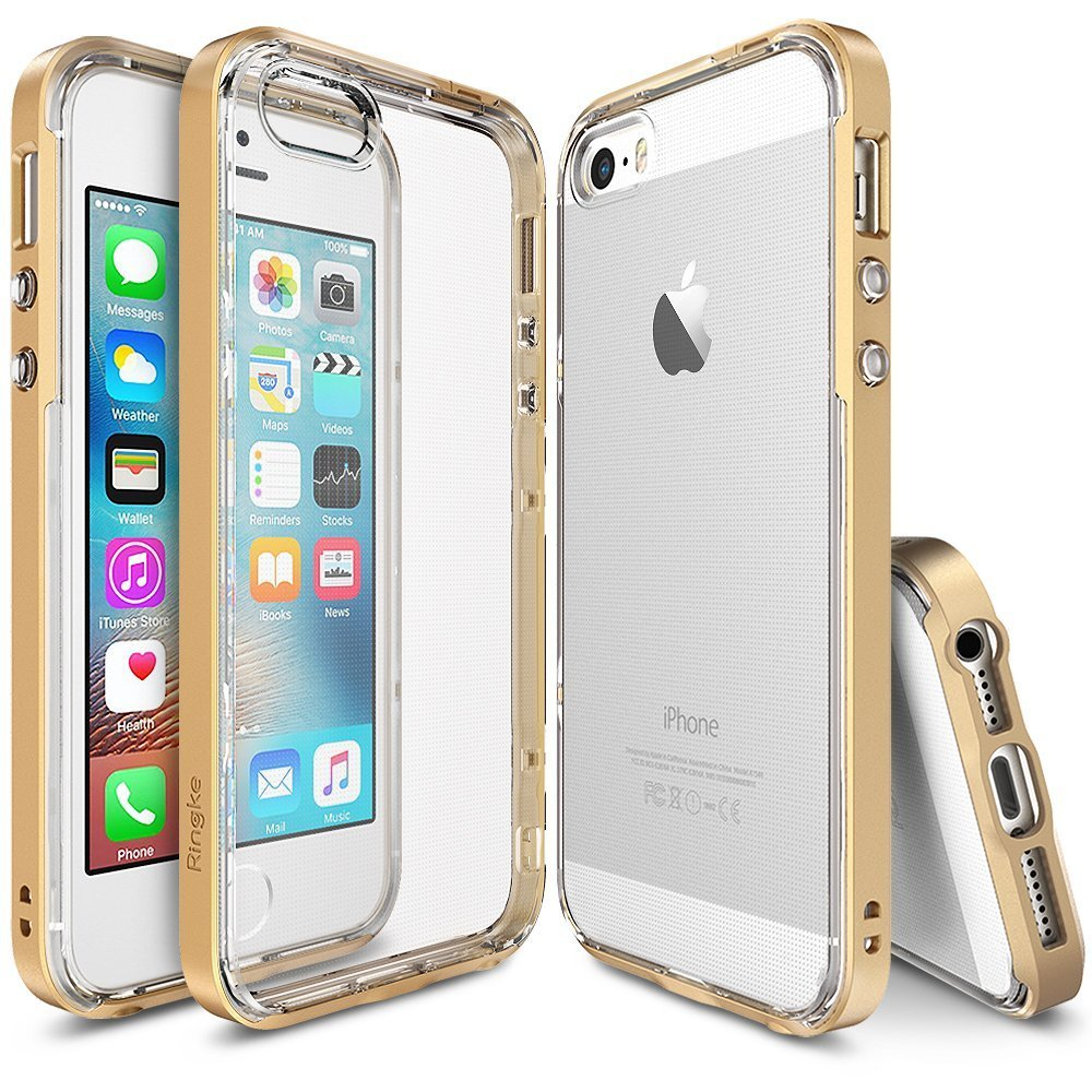 Apple iPhone SE/5/5S Ringke Case, Ringke [Royal Gold] FRAME Drop Protection Clear Soft Shock Absorption Protection Bumper Case