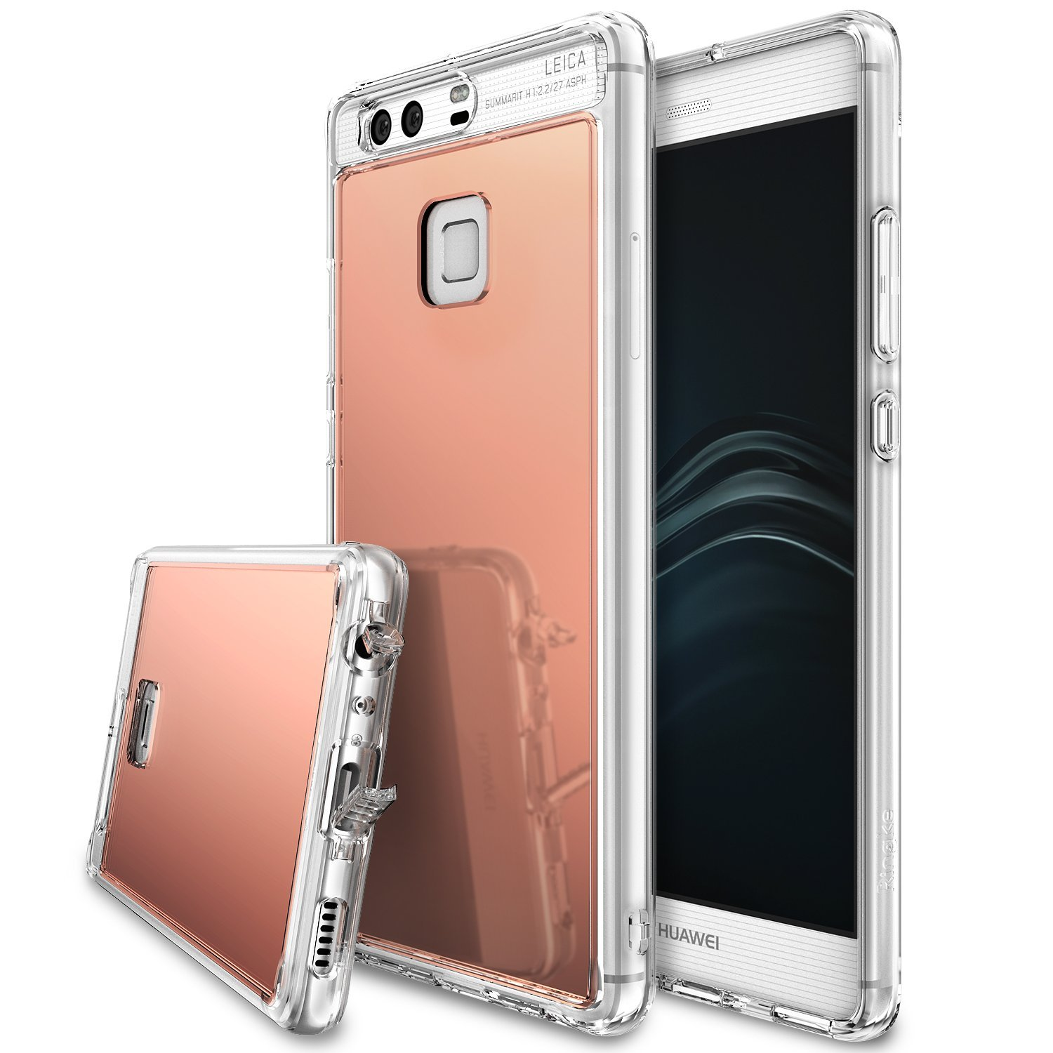 Huawei P9, [FUSION MIRROR] Bright Reflection Radiant Luxury Mirror Case [Rose Gold]