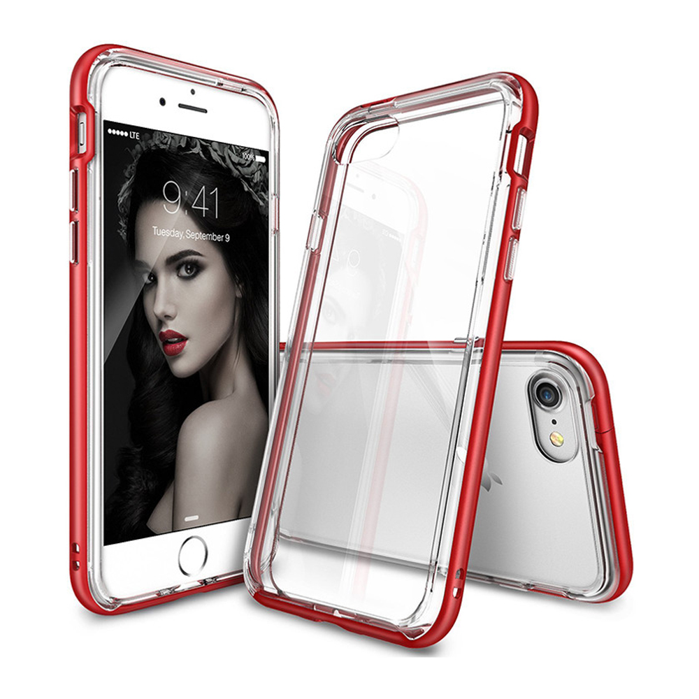 [Ringke] Apple iPhone 8 Plus / 7 Plus Case, [FRAME] Vibrant Shockproof Stylish Contour Bumper Protection Border Cover [Blazed Red]