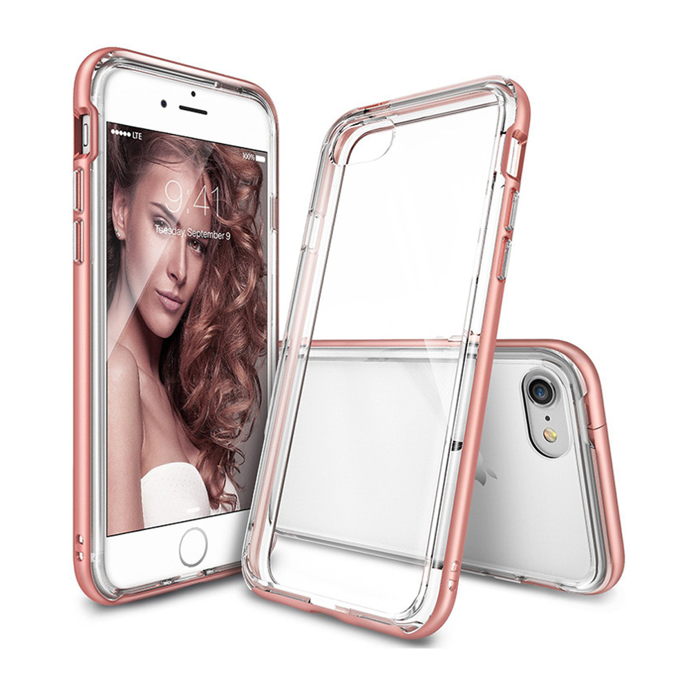 [Ringke] Apple iPhone 8 Plus / 7 Plus Case, [FRAME] Vibrant Shockproof Stylish Contour Bumper Protection Border Cover [Rose Gold]