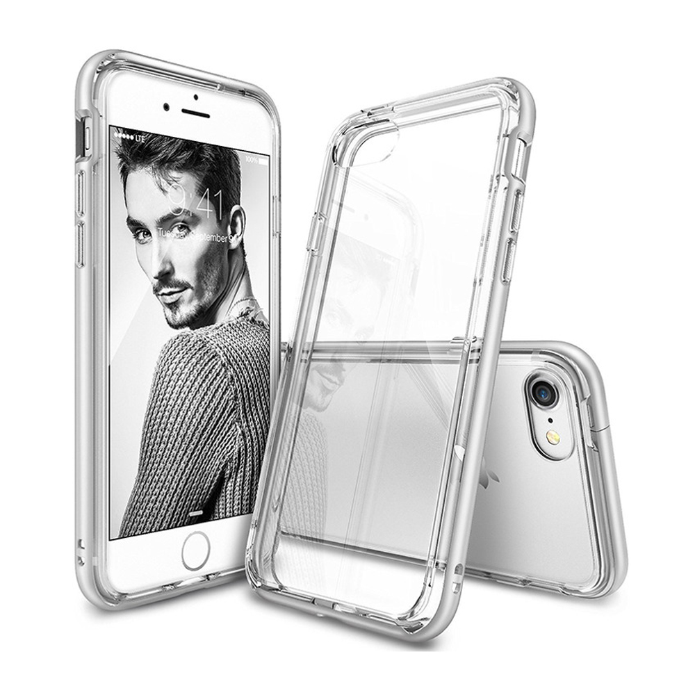 [Ringke] Apple iPhone 8 / 7 Case, [FRAME] Vibrant Shockproof Stylish Contour Bumper Protection Border Cover [Ice Silver]