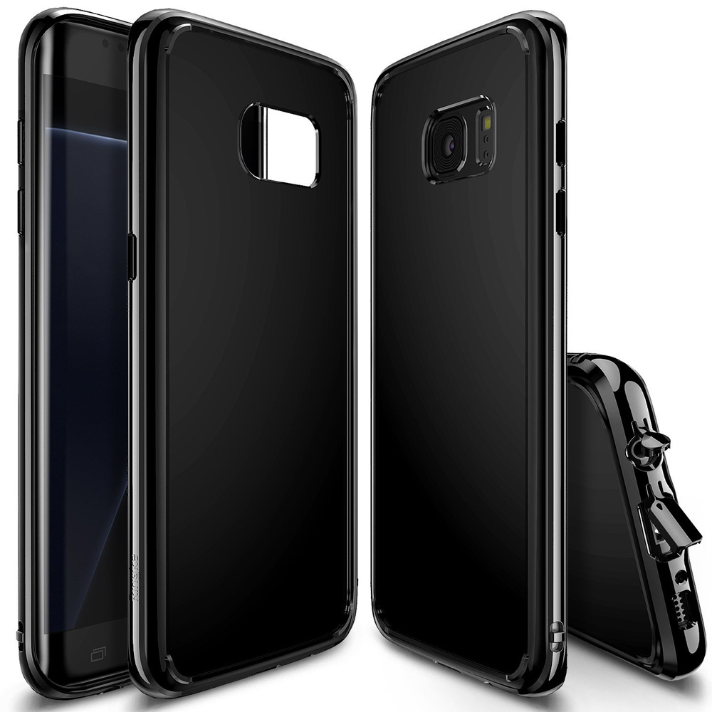 Samsung Galaxy S7 Edge Case, Ringke [FUSION] Shock Absorption TPU Bumper Clear Case - Shadow Black