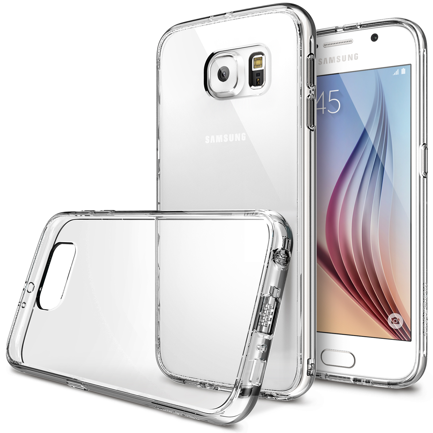 Samsung Galaxy S6 Case, Ringke [Clear] FUSION Series Featuring Shock Absorption TPU Bumper with Hard Polycarbonate Back w/ Free Screen Protector