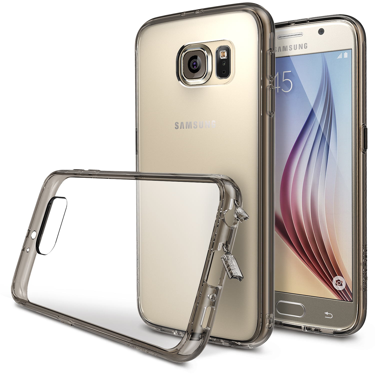 Samsung Galaxy S6 Case, Ringke [Smoke Black] FUSION Series Featuring Shock Absorption TPU Bumper with Hard Polycarbonate Back w/ Free Screen Protector