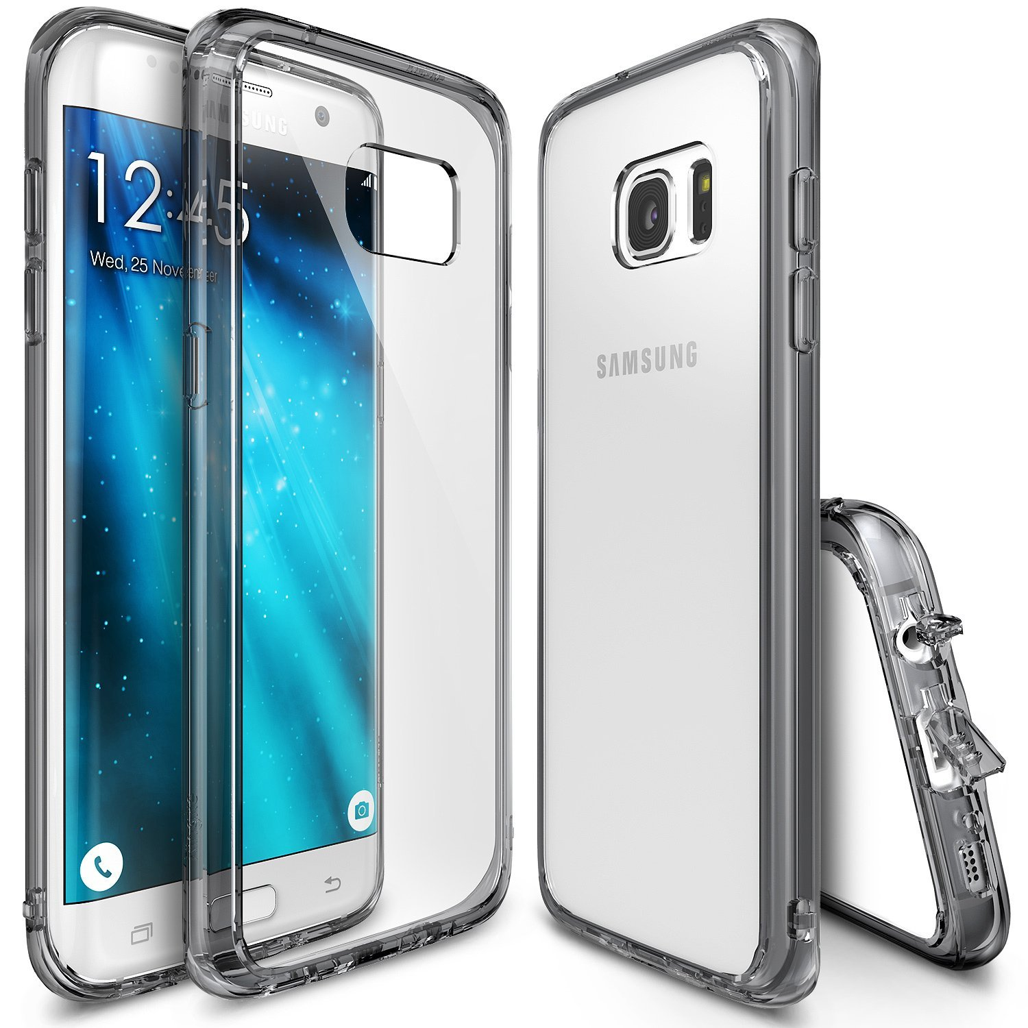 Samsung Galaxy S7 Edge Case, Ringke [Smoke Black] FUSION Series Absorb Shock TPU Bumper Clear Case