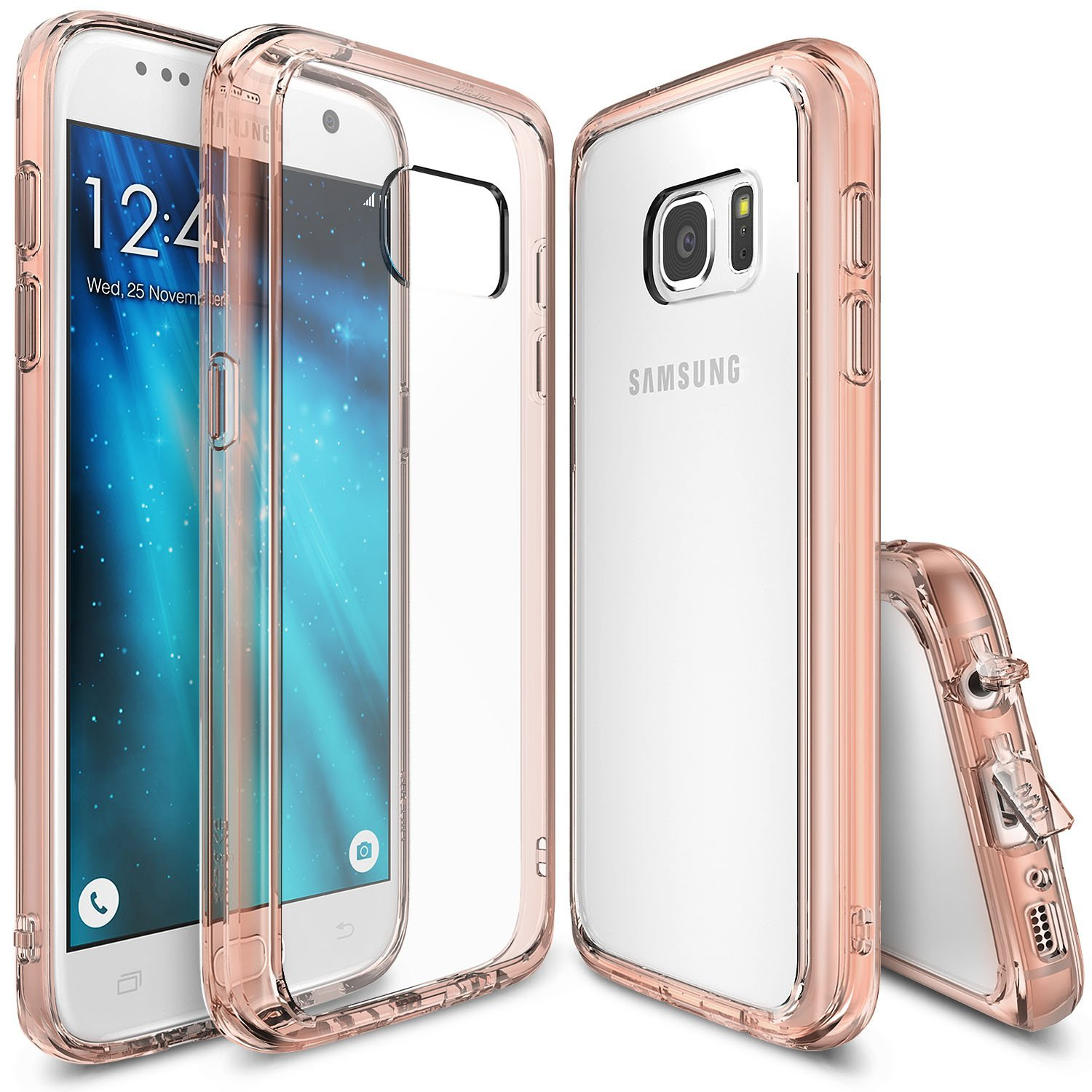 Samsung Galaxy S7 Case,Ringke [Rose Gold Crystal] FUSION series Absorb Shock TPU Bumper Clear Case