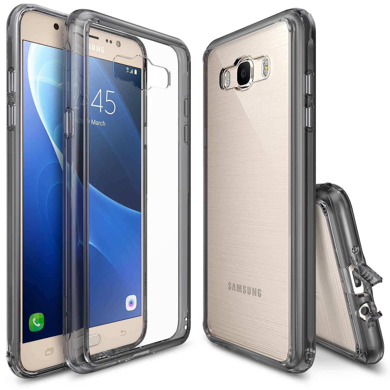 Samsung Galaxy J7 Case, [Fusion][Smoke Black] Shock Absorption TPU Bumper Clear Hard Case