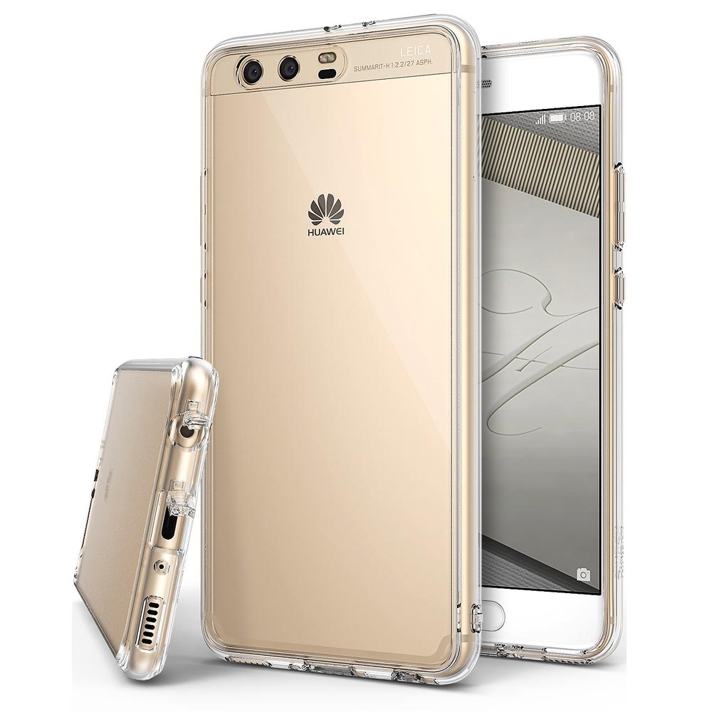 Huawei P10 Plus Case, Ringke [FUSION] Tough PC Back TPU Bumper [Drop Protection/Shock Absorption Technology][Attached Dust Cap] Raised Bezels Protective Cover For Huawei P10 - Clear
